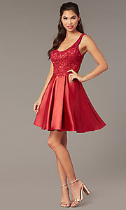 Image of scoop-neck lace-bodice hoco dress with satin skirt. Style: AL-3822 Detail Image 2
