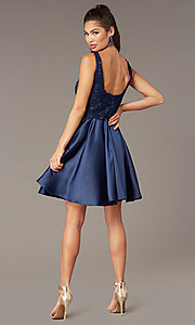 Image of scoop-neck lace-bodice hoco dress with satin skirt. Style: AL-3822 Back Image