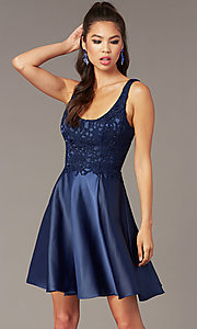 Image of scoop-neck lace-bodice hoco dress with satin skirt. Style: AL-3822 Front Image