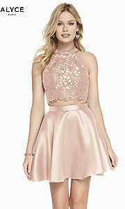 Image of two-piece short Alyce homecoming dress with lace. Style: AL-3823 Detail Image 2