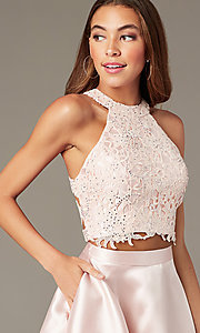 Image of two-piece short Alyce homecoming dress with lace. Style: AL-3823 Detail Image 4