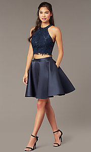 Image of two-piece short Alyce homecoming dress with lace. Style: AL-3823 Front Image