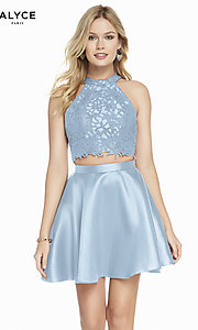 Image of two-piece short Alyce homecoming dress with lace. Style: AL-3823 Detail Image 3