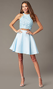 Image of two-piece short Alyce homecoming dress with lace. Style: AL-3823 Detail Image 5
