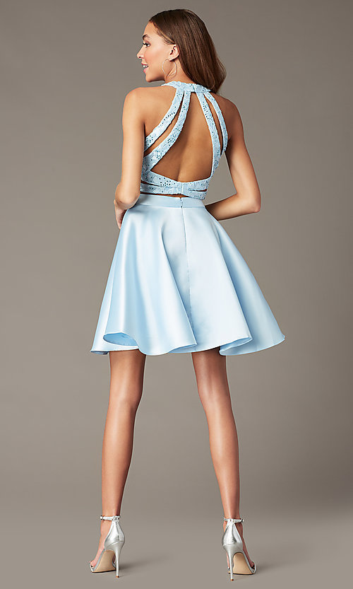 Image of two-piece short Alyce homecoming dress with lace. Style: AL-3823 Detail Image 6
