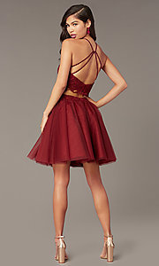Image of lace-top two-piece short homecoming dress. Style: AL-3824 Detail Image 6