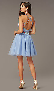 Image of lace-top two-piece short homecoming dress. Style: AL-3824 Back Image
