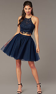 Image of lace-top two-piece short homecoming dress. Style: AL-3824 Detail Image 7