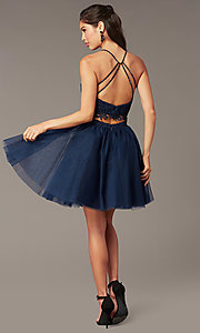 Image of lace-top two-piece short homecoming dress. Style: AL-3824 Detail Image 8