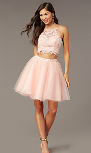 Image of lace-top two-piece short homecoming dress. Style: AL-3824 Detail Image 2