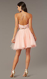 Image of lace-top two-piece short homecoming dress. Style: AL-3824 Detail Image 3