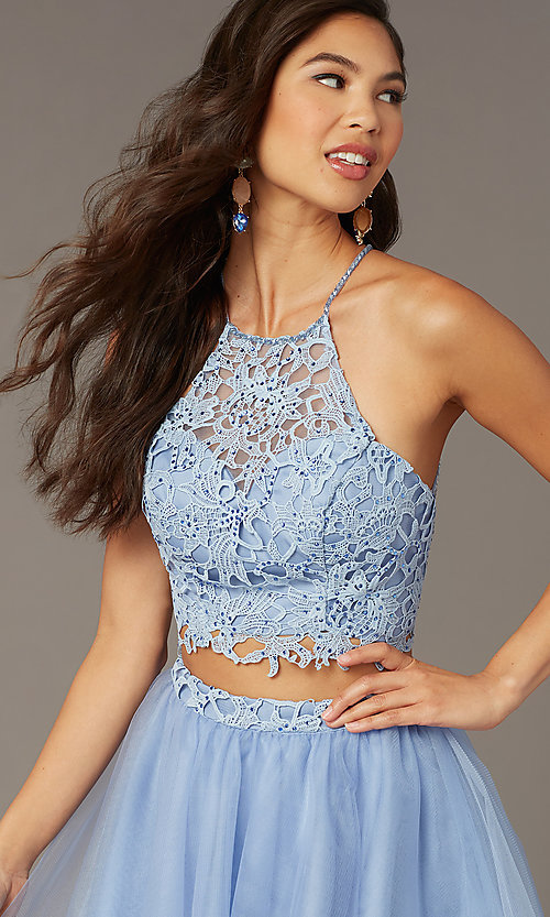 Image of lace-top two-piece short homecoming dress. Style: AL-3824 Detail Image 1