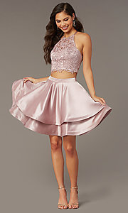 Image of caged-back lace-top two-piece homecoming dress. Style: AL-3825 Back Image