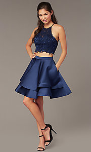 Image of caged-back lace-top two-piece homecoming dress. Style: AL-3825 Detail Image 3