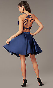 Image of caged-back lace-top two-piece homecoming dress. Style: AL-3825 Detail Image 4