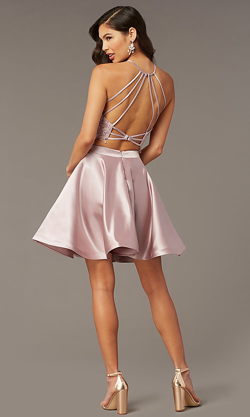 Image of caged-back lace-top two-piece homecoming dress. Style: AL-3825 Front Image