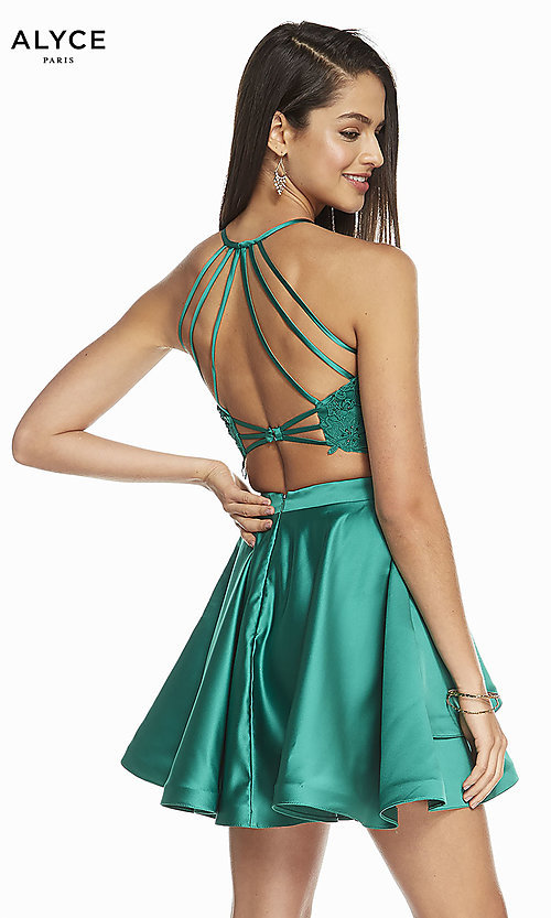 Image of caged-back lace-top two-piece homecoming dress. Style: AL-3825 Detail Image 7