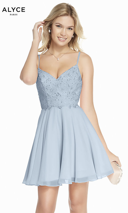 Image of beaded-bodice short Alyce homecoming party dress. Style: AL-3831 Front Image