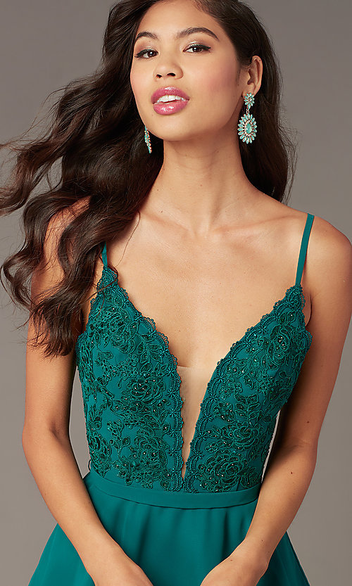 Image of embroidered-lace-bodice v-neck homecoming dress. Style: AL-3832 Detail Image 6