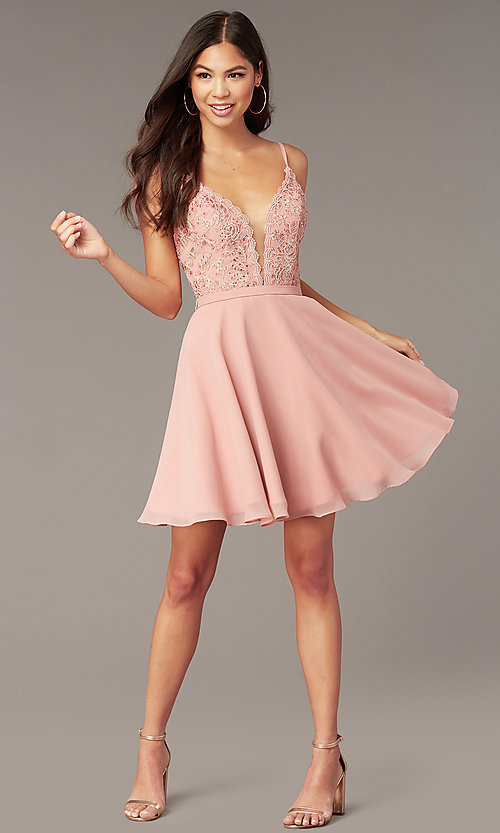 Image of embroidered-lace-bodice v-neck homecoming dress. Style: AL-3832 Front Image