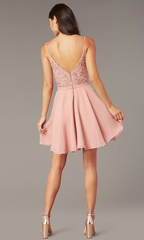 Image of embroidered-lace-bodice v-neck homecoming dress. Style: AL-3832 Back Image