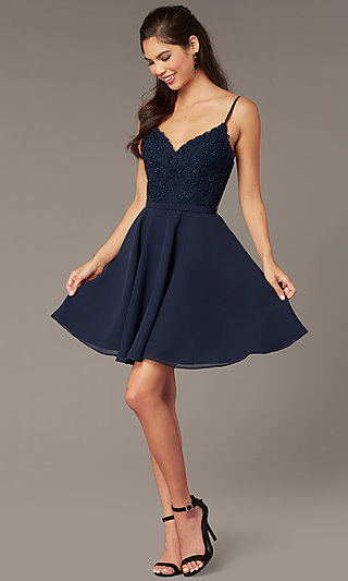Embroidered-Bodice V-Neck Homecoming Dress by Alyce
