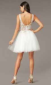 Image of Alyce diamond white short homecoming party dress. Style: AL-3863 Back Image