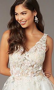 Image of Alyce diamond white short homecoming party dress. Style: AL-3863 Detail Image 1