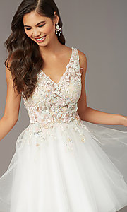 Image of Alyce diamond white short homecoming party dress. Style: AL-3863 Detail Image 2