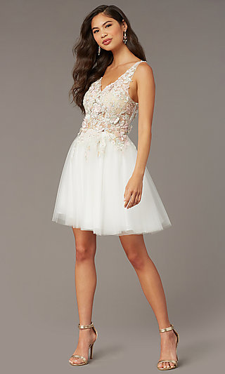 Embroidered Bodice Short V-Neck HOCO Dress by Alyce