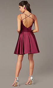 Image of open-back short homecoming party dress by Alyce. Style: AL-3876 Back Image