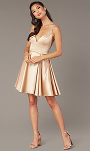 Image of open-back short homecoming party dress by Alyce. Style: AL-3876 Detail Image 3