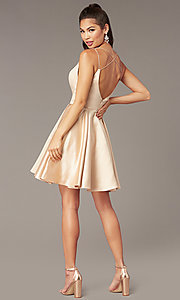 Image of open-back short homecoming party dress by Alyce. Style: AL-3876 Detail Image 4