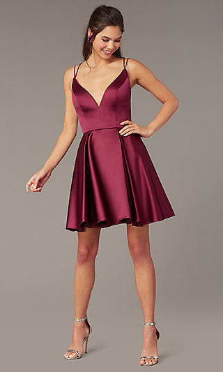 Open-Back Short Homecoming Party Dress by Alyce