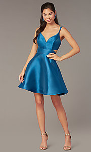 Image of open-back short v-neck homecoming dress. Style: AL-3879 Detail Image 5