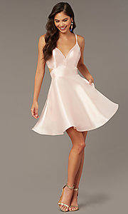 Image of open-back short v-neck homecoming dress. Style: AL-3879 Detail Image 1