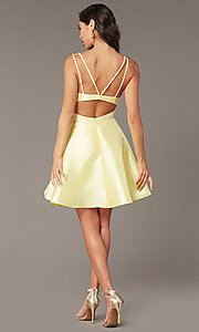 Image of open-back short v-neck homecoming dress. Style: AL-3879 Back Image