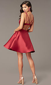 Image of open-back short v-neck homecoming dress. Style: AL-3879 Detail Image 4