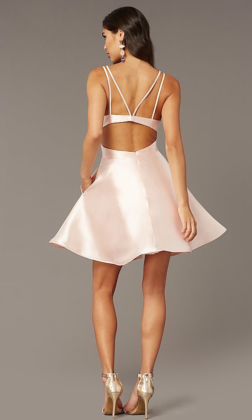 Image of open-back short v-neck homecoming dress. Style: AL-3879 Detail Image 2