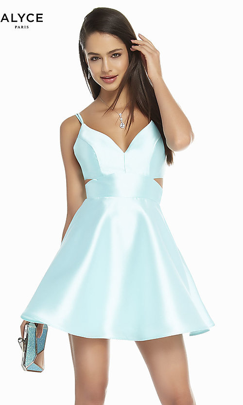 Image of open-back short v-neck homecoming dress. Style: AL-3879 Detail Image 7