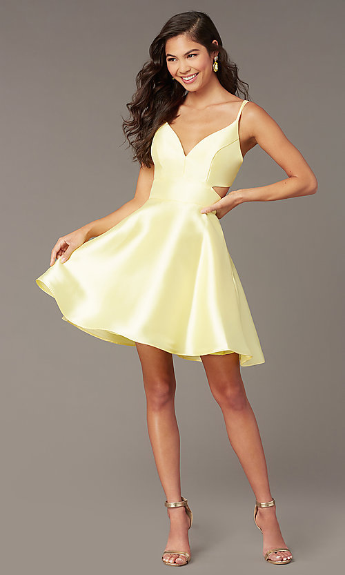 Image of open-back short v-neck homecoming dress. Style: AL-3879 Front Image