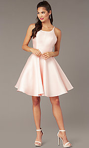 Image of corset-tie-back short satin homecoming party dress. Style: AL-3880 Detail Image 3