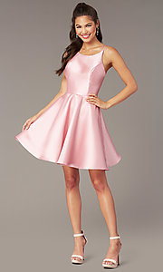 Image of corset-tie-back short satin homecoming party dress. Style: AL-3880 Detail Image 4