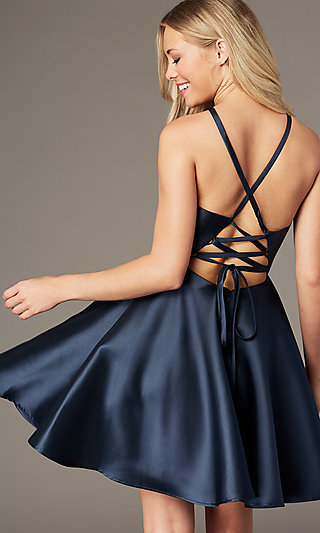 Corset-Tie-Back Short Satin Homecoming Party Dress