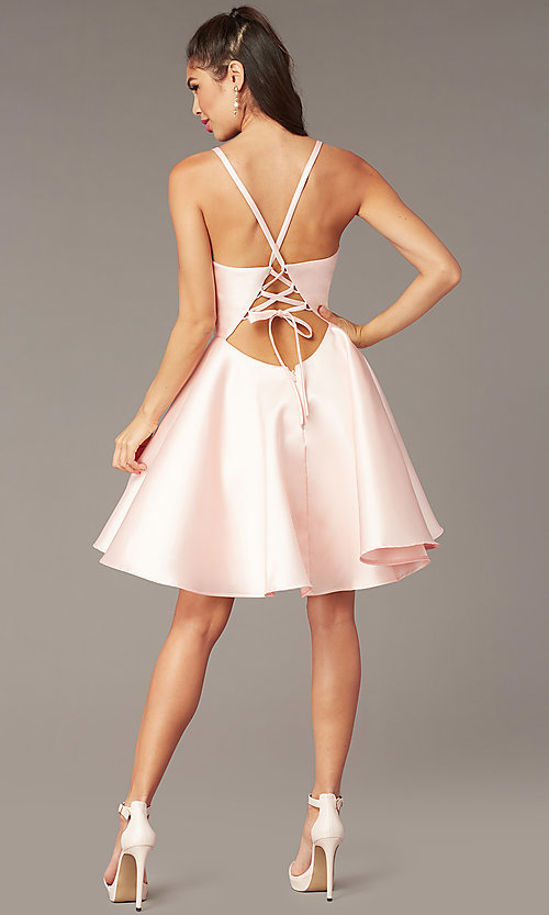 Image of corset-tie-back short satin homecoming party dress. Style: AL-3880 Detail Image 2