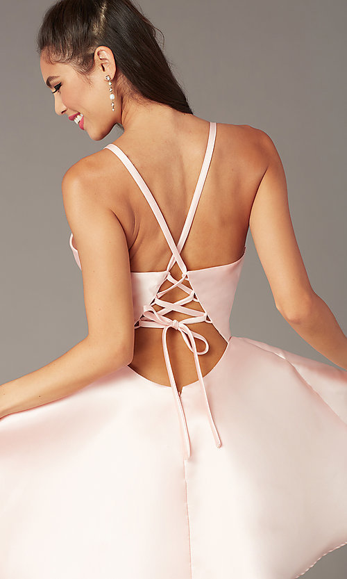 Image of corset-tie-back short satin homecoming party dress. Style: AL-3880 Back Image