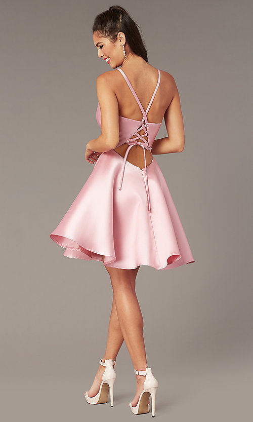 Image of corset-tie-back short satin homecoming party dress. Style: AL-3880 Detail Image 5