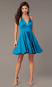 Image of cut-out short homecoming party dress with pockets. Style: AL-3882 Front Image