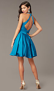 Image of cut-out short homecoming party dress with pockets. Style: AL-3882 Back Image
