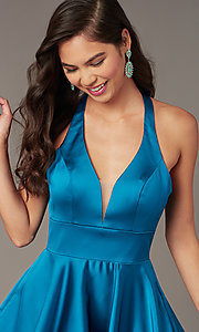 Image of cut-out short homecoming party dress with pockets. Style: AL-3882 Detail Image 1